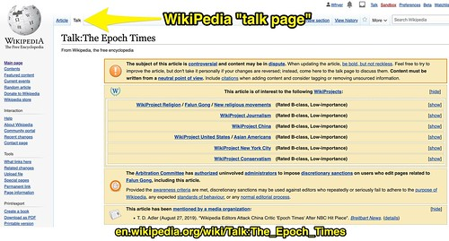 WikiPedia Talk Page for The Epoch Times by Wesley Fryer, on Flickr