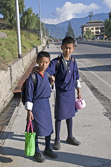 Students, Thimphu, Bhutan 111332n (Al Greening) Tags: bhutan thimphu student boy gho