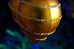 2019-12-n10-0178 (dolphinpix) Tags: xmas christmas tree festive decoration marco zoom close gold sparkle magic magical season gree blue hanging gillitter wonder special