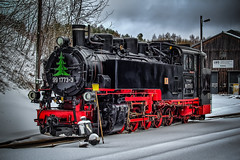 a wonderful narrow gauge steam locomotive in winter (a new picture from today december 14th in 2019) (Peters HDR hobby pictures) Tags: petershdrstudio hdr steamlocomotive locomotive narrowgaugesteamlocomotive snow railway eisenbahn dampflok schmalspurbahn fichtelbergbahn oberwiesenthal erzgebirge schnee