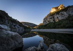 First light in the gorge. (cliveg004) Tags: pontdarc ardeche riverardeche gorge river limestone arch naturalarch rocks trees autumn france naturalwonder auvergnerhonealpe vallonpontdarc dawn sunrise gorgedardeche earlymorningphotos
