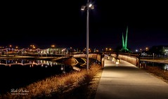 Lighted Path to the Walk Bridge (Kool Cats Photography over 13 Million Views) Tags: nightshot landscape luminar oklahoma oklahomacity outdoor architecture artistic scissortailpark hdr bridge path
