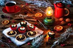 Mince Pies & Mini Christmas Puddings. (memoryweaver) Tags: tabletop decorations conifer mincetarts homemade baking winter yule xmas christmas mincepies memoryweaver stilllife festive