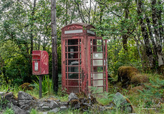 Old neglected Telephone Box. (gavin446) Tags: telephonebox phonebooth tlephone red peeling paint postbox tree rock arnamurchan scotland green neglected rustic moss