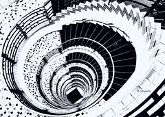 Konfetti Treppe (petra.foto busy busy busy) Tags: fotopetra schwarzweis schwarz weis monocrom kontorhaus treppenhaus treppenauge abstrakt konfetti spirale stairs inside architektur hamburg germany
