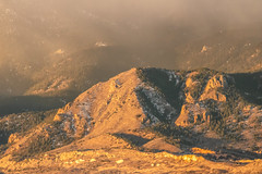 A-0912 (markbyzewski) Tags: sunrise palmerpark colorado coloradosprings tree sun cloud pikespeak mountain grass