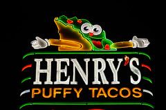 Does this taco make me look puffy? (dangr.dave) Tags: sanantonio tx texas downtown historic architecture neon neonsign henryspuffytacos taco puffytaco