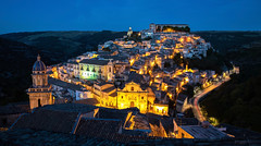 old world charm (Andy Kennelly) Tags: ragusa sicily night bluehour lights hill italy view oldtown lowerragusa church town tileroof