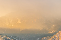 A-0914 (markbyzewski) Tags: sunrise palmerpark colorado coloradosprings tree sun cloud pikespeak mountain grass
