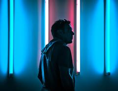 Punta Della Dogana (mlubin469) Tags: italy color museum neon venice portrait explore travel art canon blue pink man lights december cyber wave vaporwave futuristic contemporary