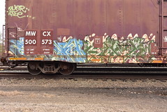 ? ? (TheGraffitiHunters) Tags: graffiti graff spray paint street art colorful benching benched freight train tracks boxcar