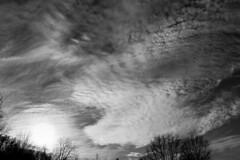 Late Day - Cloudy Autumn Sky (Modkuse) Tags: clouds cloudyday cloudy cloudscape sky skyscape dramaticsky dramatic nature natural natureart art artphotography artisticphotography artistic photoart fineartphotography fineart bw blackandwhite monochrome acros acrossimulation nikacrossimulation captureone niksilverefexpro2acros texture fujifilm fujinon fujifilmxh1 xh1 fujinonxf1655mmf28rlmwr xf1655mmf28rlmwr sunset
