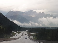 Banff exit, highway 1, Alberta, Canada (JarvisEye) Tags: banff alberta canada rain cloud highway road transcanada mountain scene scenery