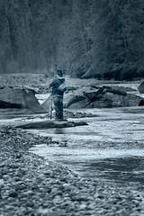 Boy Fishing (Eric Steele Photography) Tags: boy fishing bw black white blue river nooksack washington january cold salmon