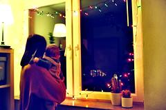 christmas lights (Ralaphotography) Tags: christmas lights 35mm film analog analogue photography mother child baby window winter season home fairy