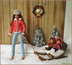 14.advent day (Mary (Mária)) Tags: advent doll diorama christmas december snow tree sledge snowflake winter wreath kelly barbie barbiebasic toys han children dollphotography dollcollector dollphotographer mattel handmade marykorcek