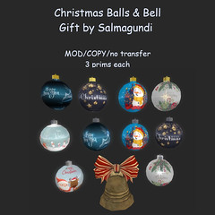 Christmas Balls & Bell (Macsima Dagostino (Owner of SALMAGUNDI)) Tags: secondlife christmas