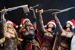 2019 Phicen/TBLeague Advent Calendar Day 14 - Warrior Salute (edwicks_toybox) Tags: 16scale acplay arhcomix lightningwarrior skarahthevalkyrie tbleague blonde femaleactionfigure hammer ladythor marvel norse phicen santahat seamlessbody shield spartawarrior spartangoddessofwar superhero sword viking