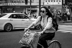 Tokyo 2019 (burnt dirt) Tags: shibuya tokyo japan asia japanese asian candid documentary street photography downtown metro urban city scramble crossing outdoor people person fujifilm xt3 fujinon 50mm f2 bw blackandwhite monotone monochrome woman girl smile laugh train station style fashion bike bicycle life real crowd tourist emotion expression portrait close nippon sunglasses