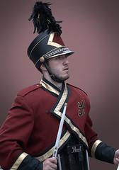 Drumming Drummer (Scott 97006) Tags: uniform highschool band drummer drumming helmet plume sticks