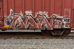 AWAL (TheGraffitiHunters) Tags: graffiti graff spray paint street art colorful benching benched freight train tracks boxcar awal