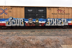 JCUB PHUN (TheGraffitiHunters) Tags: graffiti graff spray paint street art colorful benching benched freight train tracks boxcar jcub phun e2e character