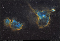 IC1848 & IC1805, The Soul & Heart Nebulae (Andries Cafmeyer Astrophotography) Tags: ic1848 ic1805 sh2199 lbn667 ngc896 sh2190 heartnebula soulnebula emissionnebula hubblepalette sho celestron cgx zwo asiair canon 70200mm asi 183mm asi183mmpro baader astropixelprocessor pixinsight photoshop topaz ai denoize astronomy astro astrophotography universe stars astrometrydotnet:id=nova3808464