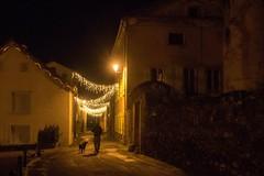 Vic d'Oust (Ariège) (PierreG_09) Tags: ariège pyrénées pirineos couserans occitanie midipyrénées oust vicdoust village nuit lumière illuminations homme chien silhouette rue pathscaminhos