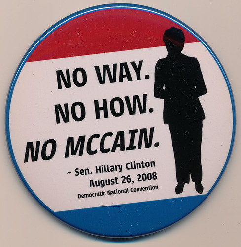 Button with quote from Hillary Clinton's DNC speech supporting any Democrat for President in 2008