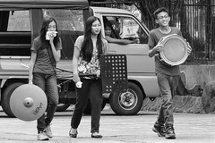 Members of the band (Beegee49) Tags: street people women filipina blackandwhite monochrome band panasonic fz1000 bw instruments musical silay city philippines asia happyplanet asiafavorites