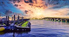 The sun is going over the bridge. (Aglez the city guy ☺) Tags: sobe miamibeach bridge macarthurcauseway seashore sea skies sunset outdoors miamifl urbanexploration walking walkingaround waterways