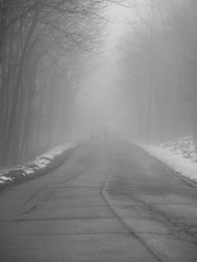 Walking Into A Low Cloud (John Kocijanski) Tags: people fog streetphotography street blackandwhite streetcandid canong15 odc highorlow leadinglines
