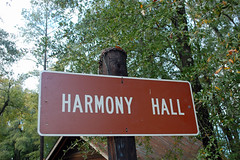 Harmony Hall Sign. (dccradio) Tags: whiteoak nc northcarolina bladencounty historic historical harmonyhallplantation harmonyhallplantationvillage tree trees woods wooded foliage greenery branch branches treebranch treebranches treelimb treelimbs december winter saturday afternoon saturdayafternoon goodafternoon outside outdoors outdoor nikon d40 dslr sign words text