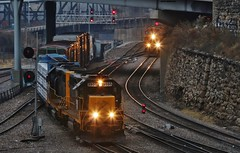 Dueling Railroads - West Bottoms, Kansas City, MO (MinnKota Railfan) Tags: rail railroad engine loco locomotive train kct kansas city terminal railway bnsf burlington northern santa fe two trains west bottom bottoms mo