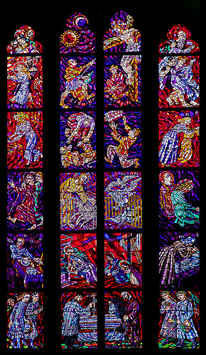 Stained glaas of St. Vitus Cathedral, Prague.