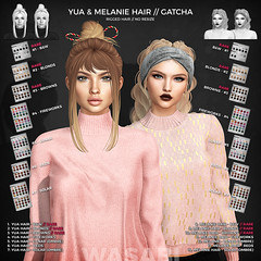 New Yua & Melanie gacha @ The Epiphany! (Wasabi // Hair Store) Tags: 3d mesh hair wasabi secondlife insol maitreya genus aviglam tresblah thesecretstore league catwa