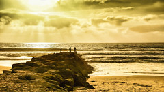 """A Golden Moment at Imperial Beach (asonyphotographer) Tags: glow """"fisherman"""" fishing brach sand rocks waves water sky clouds pacific ocean imperialbeach california unitedstatesofamerica sandiego goldenhour gold sonyalphadslr"""