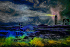 Off the Maine Coast (Rusty Russ) Tags: maine coast lighthouse monstro whale sea captain wife water light coral colorful day digital flickr country bright happy colour scenic america world sunset sky red nature blue white tree green art sun cloud park landscape summer old new photoshop google bing yahoo stumbleupon getty national geographic creative composite manipulation hue pinterest blog twitter comons wiki pixel artistic topaz filter on1 sunshine image reddit tinder russ seidel facebook timber unique unusual fascinating