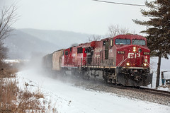 CP 8704 (Jonah Arndt) Tags: train sky clouds tracks trees rocks snow locomotive emd ge canadianpacific