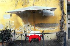 Via Margutta - Rome (Cristian Mauriello) Tags: roma rome italia italy via margutta street urban city table red color yellow alley restaurant set ancient