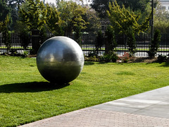 Sphere (EmperorNorton47) Tags: universityofsoutherncalifornia usc losangeles california photo digital autumn fall exterior publicart university campus sphere ball modernart