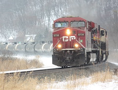 (MN transfer) Tags: canadianpacific railway cp cprail railroad freight train oil empty tank tanks tankcars riversub minnesota cp8738 ge generalelectric gevo es44ac locomotive december14th2019