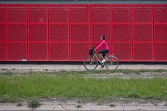 🎶 riding my green bicycle (jotka*26) Tags: 🎶ridingmygreenbicycle woman bicycle køpenhavn street minimal greenred jotka26 berlin germany danmark