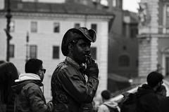 non siamo statue (duegnazio) Tags: italia italy lazio roma rome duegnazio canon40d cowboy mimo smoking fumare piazzanavona streetphotography bn bw biancoenero blackandwhite blackwhite