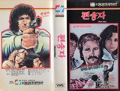 """Seoul Korea vintage VHS cover art for cult classic kidnap pic """"Hitch-hike"""" (1977) - """"Fueled by Hess"""" (moreska) Tags: seoul korea vintage vhs cover art retro horror gore cult eurosleaze david hess hitchhike 1977 shocker bmovie drivein grindhouse icons hangul graphics fonts videocassette analogue villains mustache oldschool collectibles archive museum rok asia"""