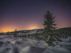 A Winter Night. (Bonnie And Clyde Creative Images) Tags: landscape poland europe winter night stars snow mountains canon