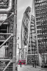 The Gherkin (patuffel) Tags: city building london st 30 swiss mary axe re gherkin leica bus district 28mm transport lloyd financial m10 norman foster black white
