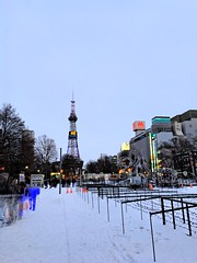 TV Tower 3 (sjrankin) Tags: 15december2019 edited hokkaido japan sapporo snow weather cold odoripark odorikoen downtown buildings road park trees people whiteillumination tvtower sapporotvtower hdr
