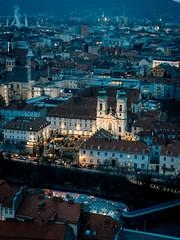 Mariahilfkirche und Minoritenkloster (pk210) Tags: graz steiermark österreich skyline mur cityscape stadtlandschaft stadt dächer nacht dämmerung advent