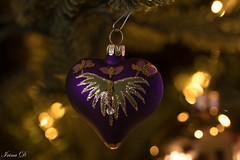 Getting in the mood (Irina1010) Tags: christmas holiday shine glitter decoration heart purple christmastree macro bokeh beautiful mood canon coth5
